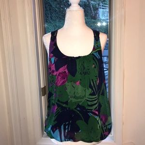Express Floral Racerback Tank - Size Small